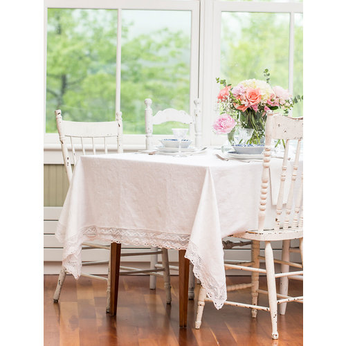 April Cornell Luxurious Linen Jacquard Ivory 60 x 90 Tablecloth