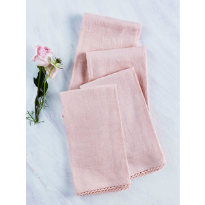April Cornell Luxurious Linen Jacquard Soft Rose Napkins