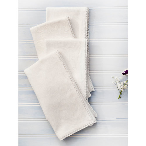 April Cornell Luxurious Linen Jacquard Ivory Napkins