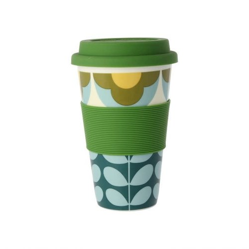 Orla Kiely Summer Flower Stem Blue/Yellow Travel Mug