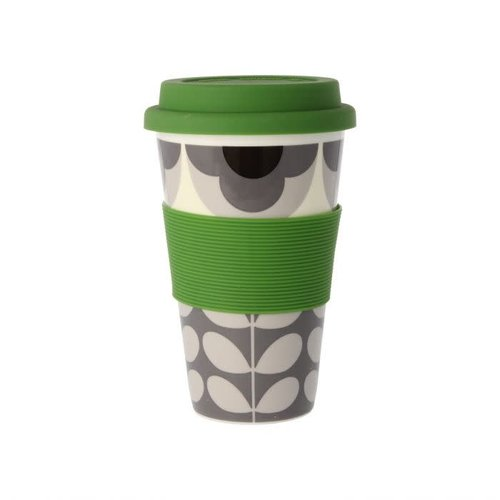 Orla Kiely Summer Flower Stem Gray/Black Travel Mug