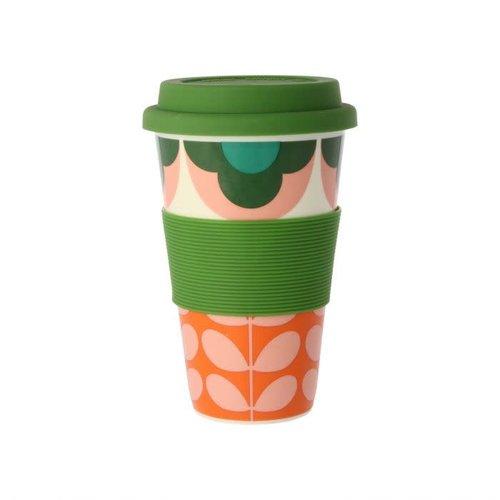 Orla Kiely Summer Flower Stem Pink/Green Travel Mug
