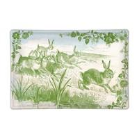 Bunny Toile Glass Soap Dish