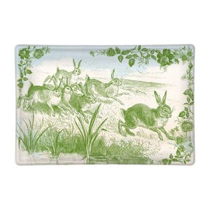 Michel Design Works Bunny Toile Glass Soap Dish