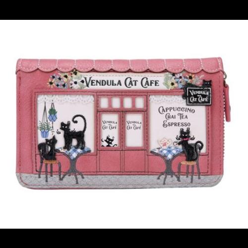 Vendula Vendula Cat Cafe Medium Ziparound Wallet