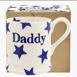 Emma Bridgewater Blue Star Daddy 1/2 Pint Mug Boxed