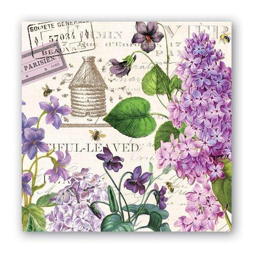 Michel Design Works Lilac and Violets Cocktail Napkins
