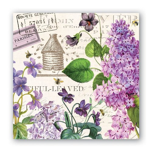 Michel Design Works Michel Lilac and Violets Cocktail Napkins