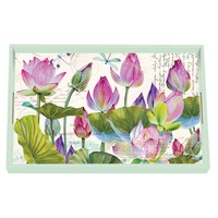 Water Lilies Decoupage Wooden Vanity Tray