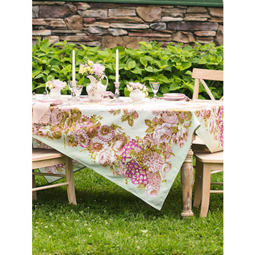 "April Cornell Spring Gathering Vintage Tablecloth 54"" x 54"""