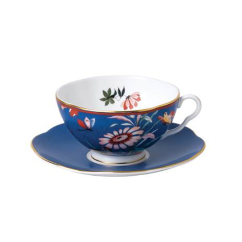 Wedgwood Paeonia Blush Teacup & Saucer Blue