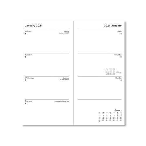Letts of London Classic Slim Week-To-View Upright 2021 Diary with Planner Blue
