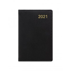 Letts of London Belgravia Mini Pocket Week to View Leather Diary with Planners 2021 Black