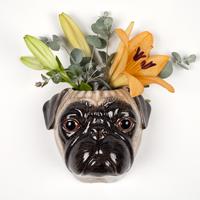 Quail Pug Wall Vase Fawn