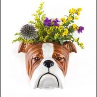 Quail English Bulldog Wall Vase