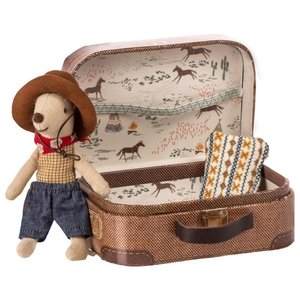 Maileg Little Brother Cowboy Mouse in Suitcase