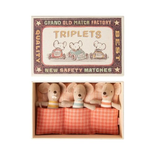 Maileg Maileg Baby Mice Triplets in Matchbox