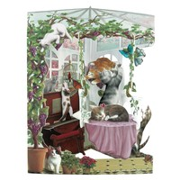 Cats in Conservatory Swing Card