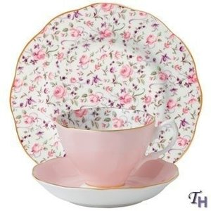 Royal Albert Rose Confetti Teacup and Saucer Plate