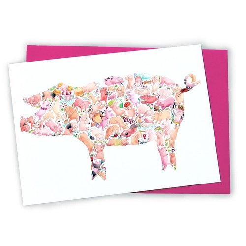 P is for Pig Greeting Card