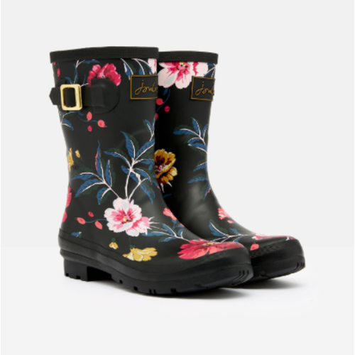 Joules USA Black Floral Molly Welly