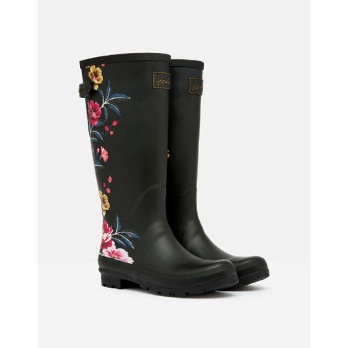Joules USA Black Floral Printed Welly