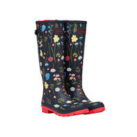 Navy Spring Floral Printed Welly