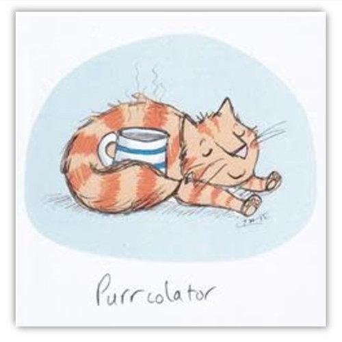 Purrcolator Greeting Card