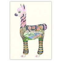 Watercolor Alpaca Card