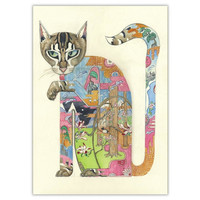 Watercolor Cat Licking Paw Card