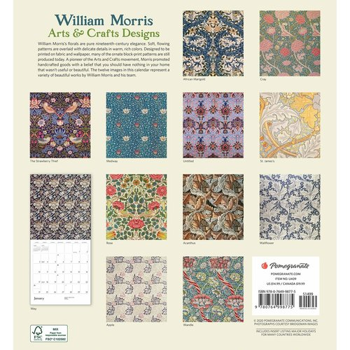 Pomegranate William Morris Arts and Crafts Designs 2021 Wall Calendar