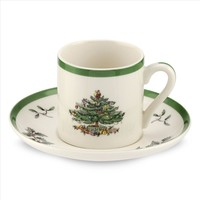 Christmas Tree Espresso Cup and Saucer