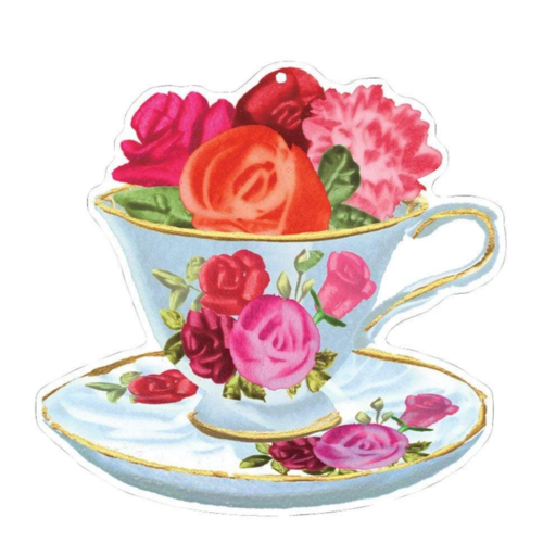 Caspari Flower Teacup Hanging Ornament  Gift Tags