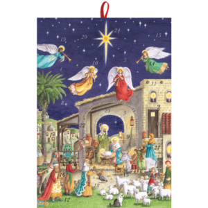 Caspari Nativity Scene With Angels Advent Calendar