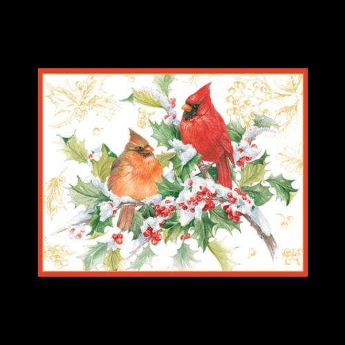 Caspari Cardinals and Holly 16 Christmas Cards