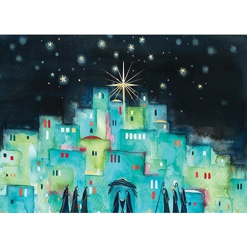 Blue Village With Stars Boxed Cards