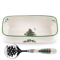 Spode Christmas Tree Cranberry Server