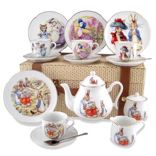 Reutter Porzellan Peter  Rabbit Tea Set for 4 - Picnic Basket
