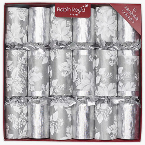 Robin Reed Silver Poinsettia Christmas Cracker