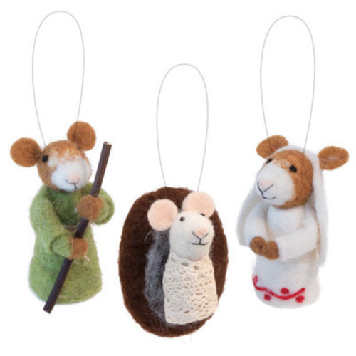 Jesus Mary & Joseph Mice Ornaments
