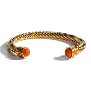 Halcyon Days Maya Orange and Gold Torque Bangle