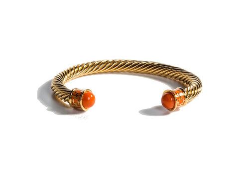 Halcyon Days Maya Orange and Gold Torque Bangle