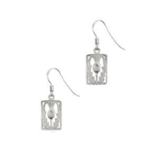 Hamilton & Young Scottish Thistle Drop Earrings Rectangle