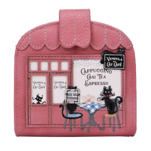 Vendula Cat Cafe Clipper Coin and Card Wallet