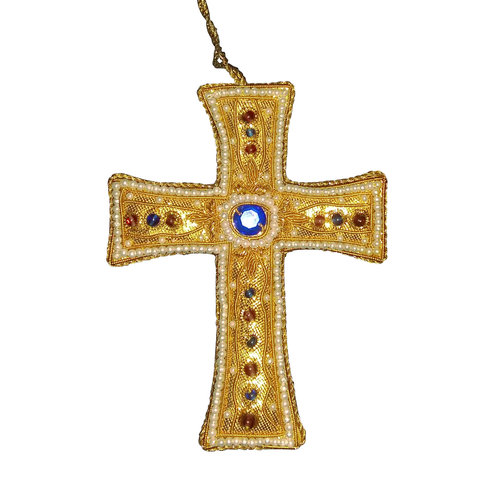 St. Nicolas Gold T Cross With Pearl Border