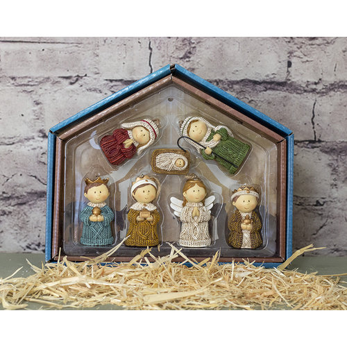 Sweater Children Nativity Ornament Set