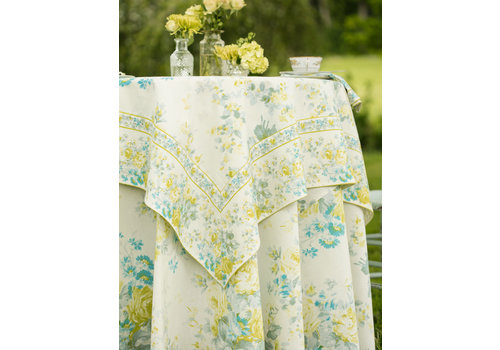 April Cornell Cottage Rose Ivory 54 x 54 Tablecloth