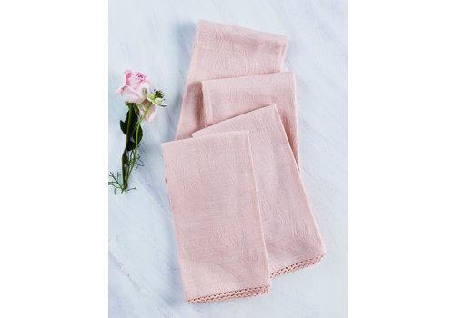 April Cornell Luxurious Linen Jacquard Soft Rose Napkins