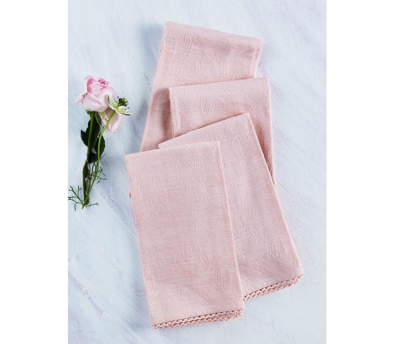 Luxurious Linen Jacquard Soft Rose Napkins
