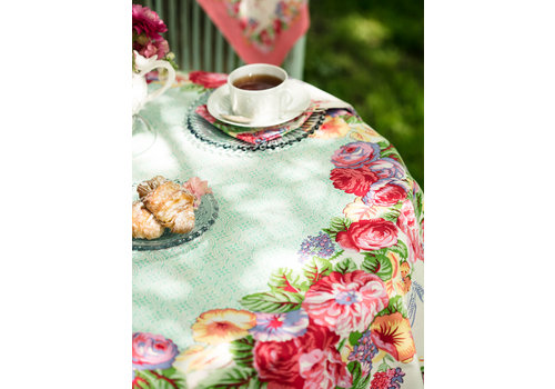 April Cornell Marion White/Multi Round Tablecloth